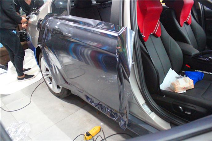 长沙汽车改色贴膜改装实体店 宝马全车施工水晶钛灰